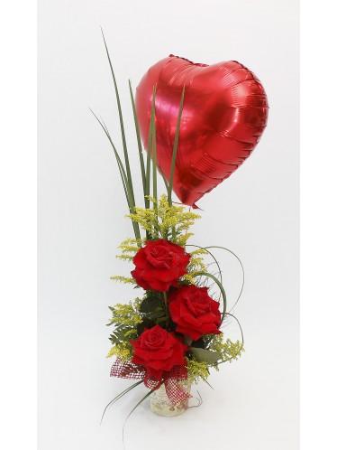 Arranjo 3 rosas + balão