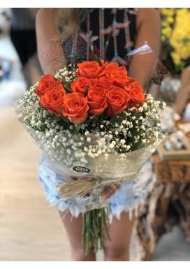 Topiaria com 12 Rosas Coral e Gypso