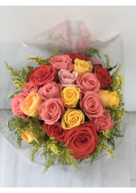 Topiaria com 20 Rosas Coloridas