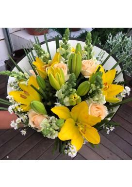 Bouquet Lírios + Rosas + Boca de leão