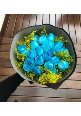 Topiaria de rosas azuis
