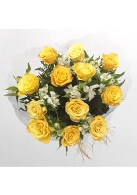 Bouquet 12 Rosas Amarelas Importdas