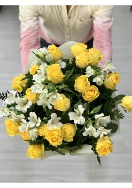 Bouquet Rosas Amarelas + Astromélias