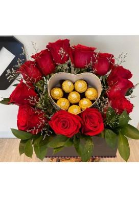 rosas e chocolates coração