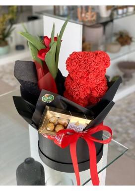 Box Urso de Rosas + Túlipa + Chocolate