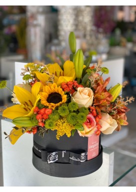 Box Black Flowers